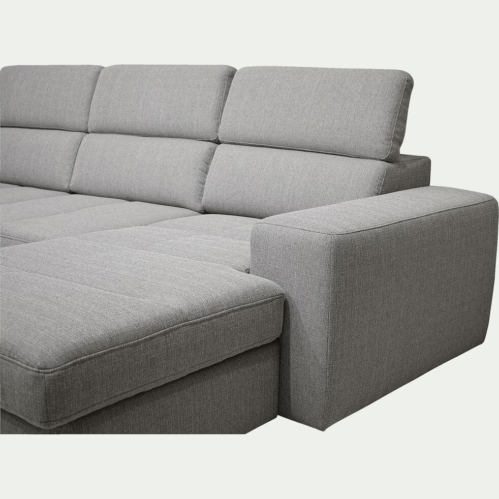 Canapé d'angle en forme de U convertible avec méridienne à droite en tissu - gris clair-TONIN