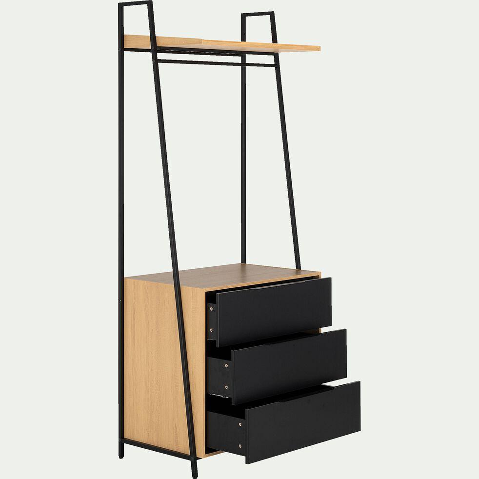 Commode 3 tiroirs avec tablette noir-HENRY
