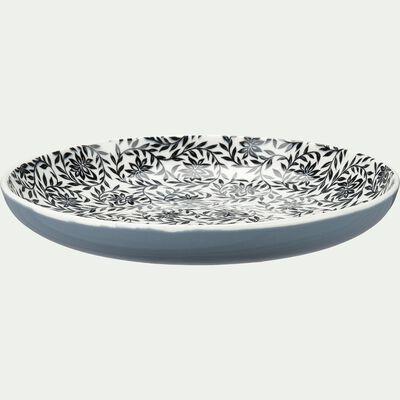 Assiette à dessert en porcelaine motifs jasmin - gris d20,8cm-AIX