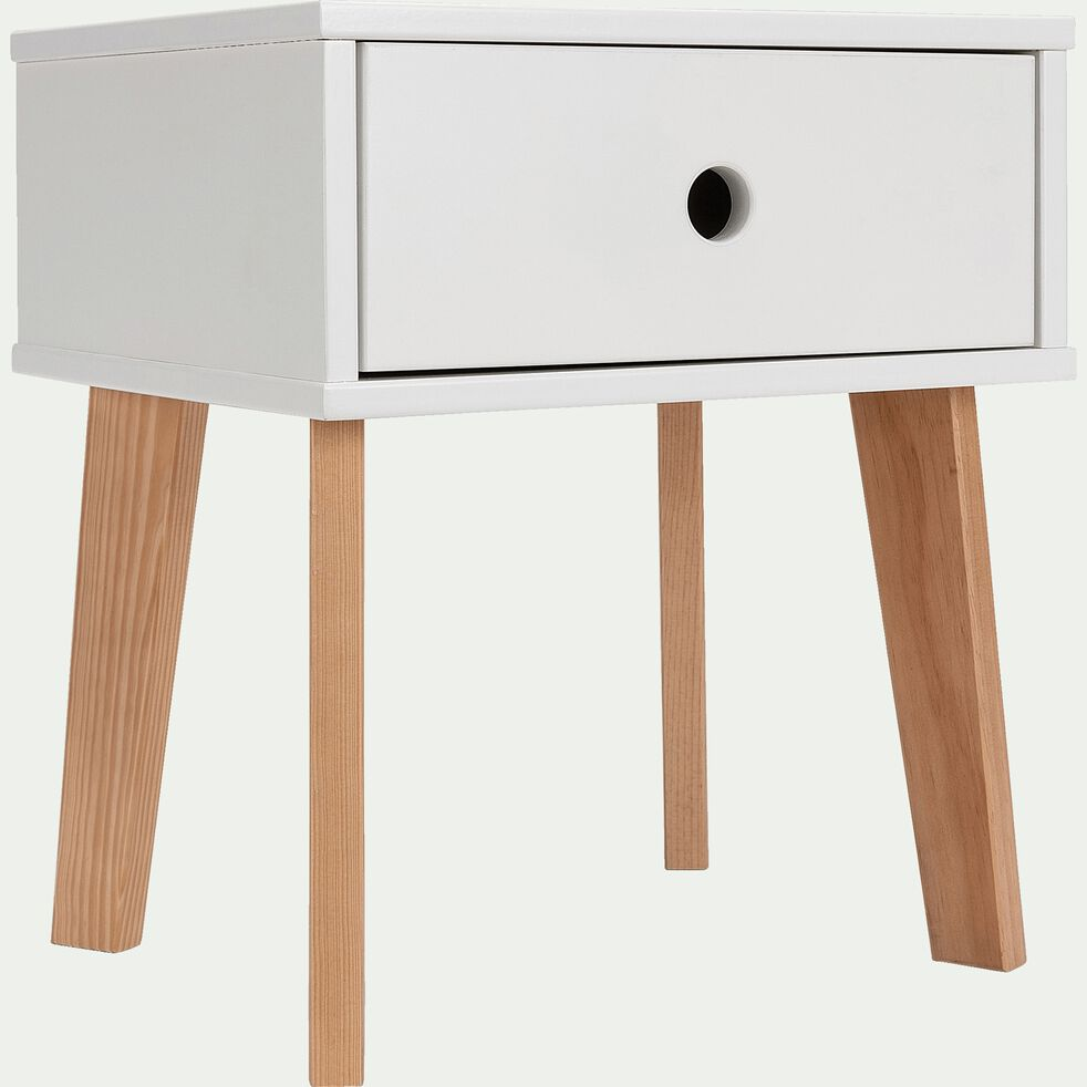 Table de chevet en bois plaqué - blanc-SACHA