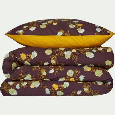 Housse de couette et 2 taies d'oreiller en coton motif fleuri - rouge 260x240cm-GIOLY