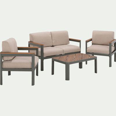 Salon de jardin en métal vert cèdre (4 places)-ALEP