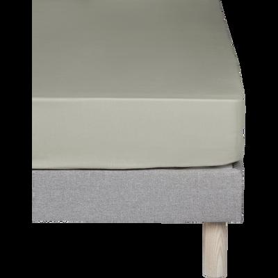 Drap housse en percale de coton Vert olivier 140x200cm bonnet 25cm-FLORE