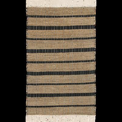 Tapis rayé en jute à franges 120x170cm-MILO