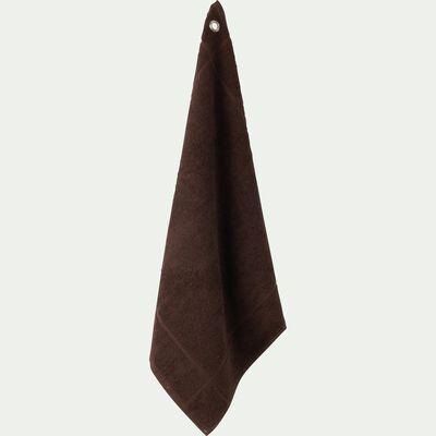 Carré éponge 50x50cm en coton brun ombre-PANISSE