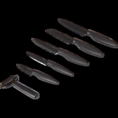 Coffret de 5 couteaux et 1 éplucheur noirs en céramique-Hipster