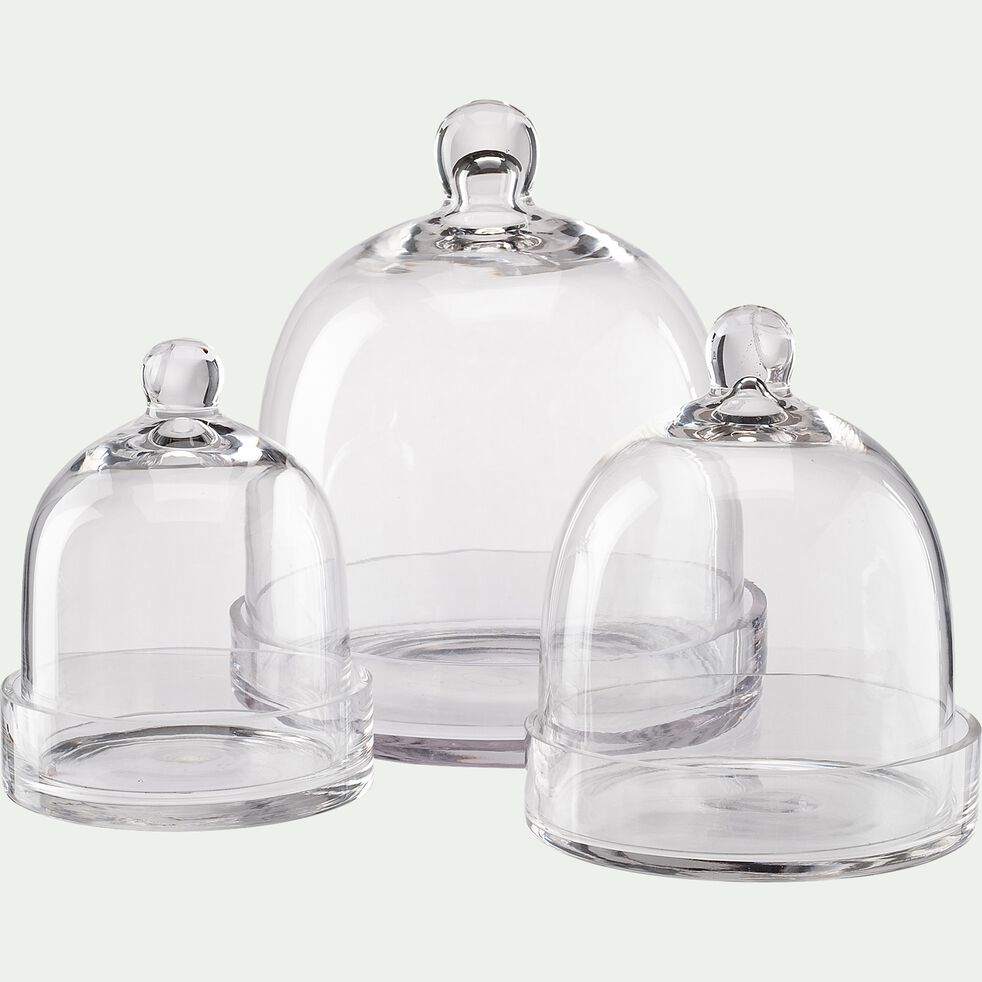 Cloche et socle en verre - transparent D21,5xH25cm-PROSTANTHERA