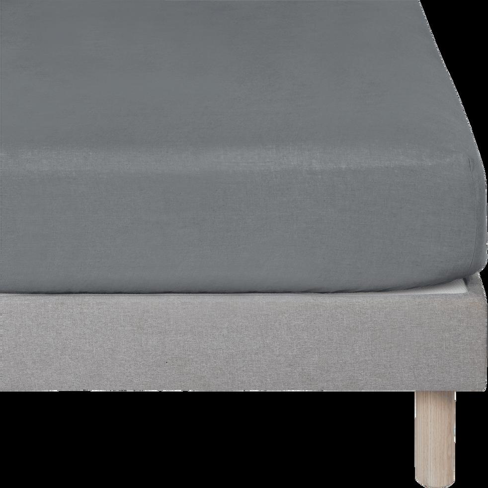 drap housse en lin gris restanque 160x200cm bonnet 28cm vence 160x200 cm catalogue. Black Bedroom Furniture Sets. Home Design Ideas
