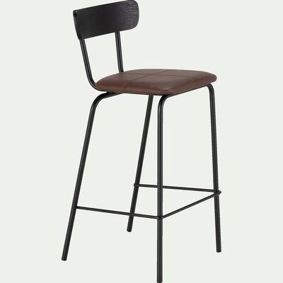 Chaise de bar en simili marron - H66cm-ORSAY