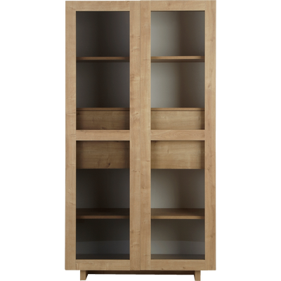 Vitrine coloris chêne 2 portes et 4 tiroirs-MADERA