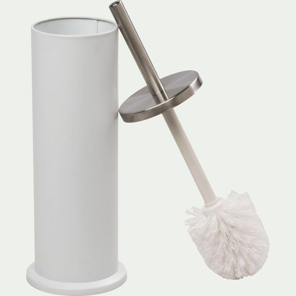 Balai et porte-balai WC en plastique et époxyde - blanc-Lanca