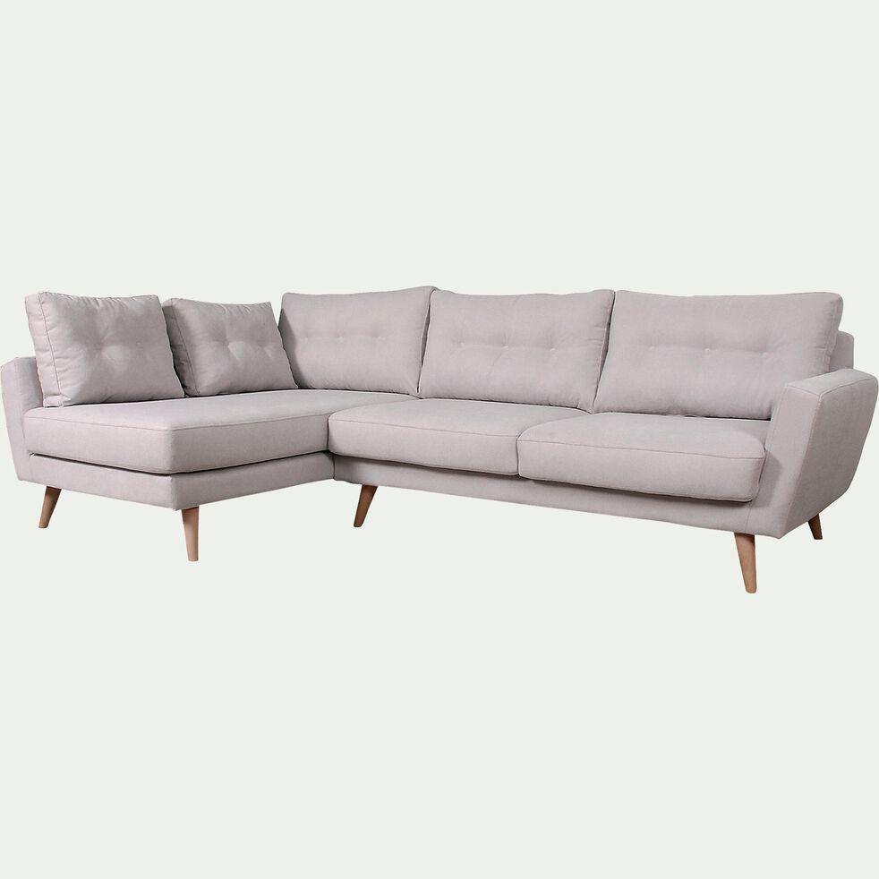 Canapé d'angle fixe gauche en tissu - nougat-ICONE