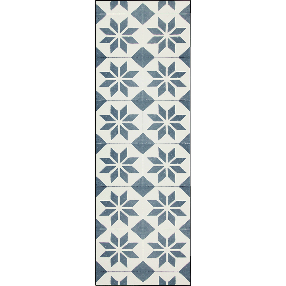 SOLENE - Tapis de couloir en vinyle gris et blanc 60x200cm