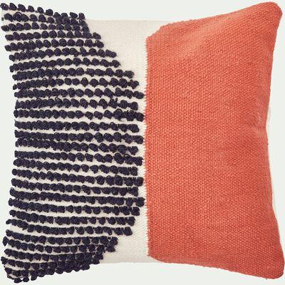 Housse de coussin écru motifs bleu & orange 45x45 cm-MEHDI