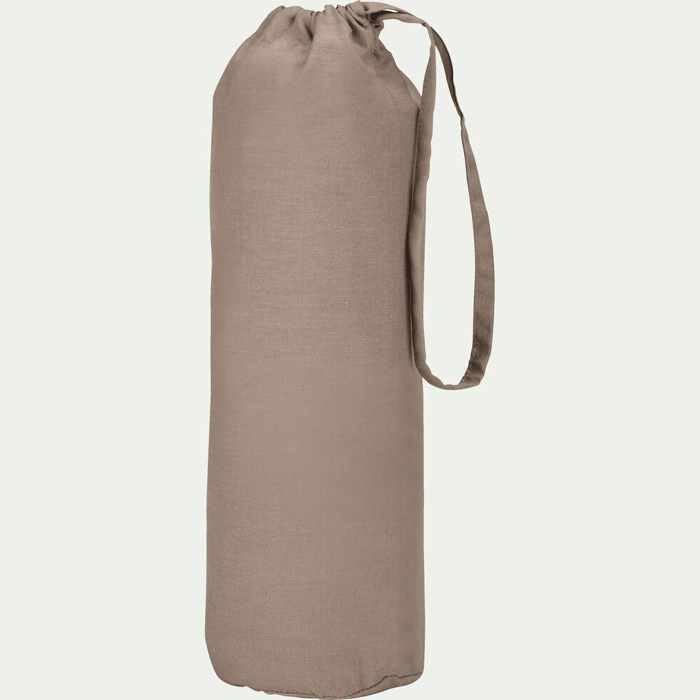 Drap housse en coton - brun châtaignier 90x200cm B25cm-CALANQUES