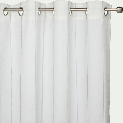 Voilage à œillets en polyester rayé - blanc 140x240cm-VAISON