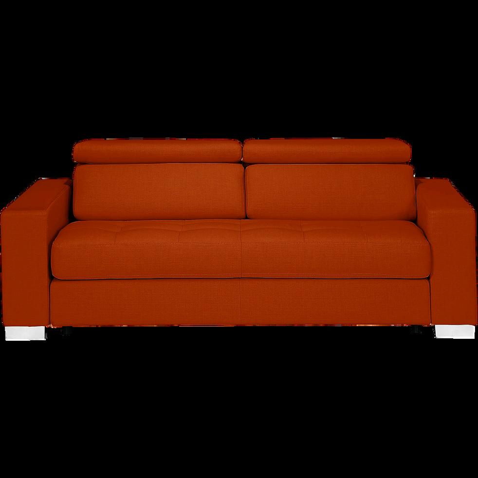 Canapé 3 places fixe en tissu rouge-Mauro