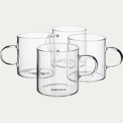Lot de 4 mugs transparents en verre 15cl-SICHUAN