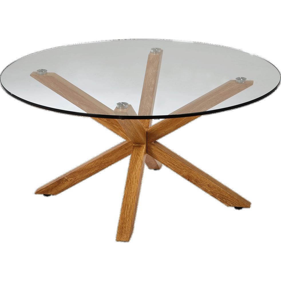 table basse ronde en verre et pi tement m tal effet bois areno tables basses alinea