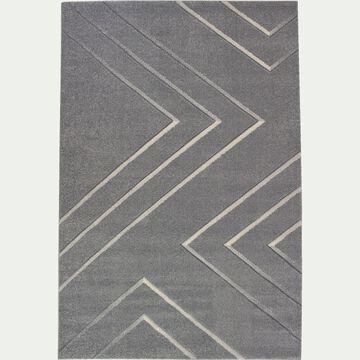 Tapis lignes creusées - gris 120x170cm-XENON
