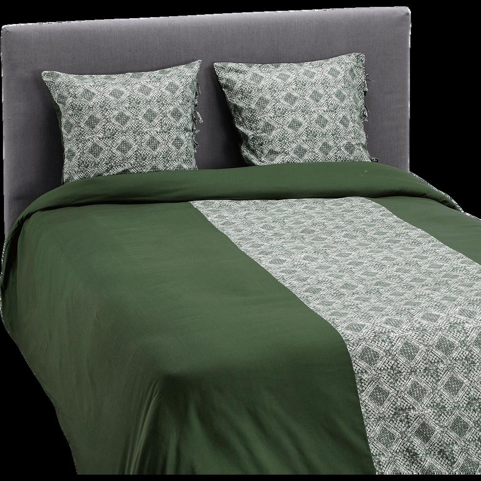 Housse de couette en coton lavé vert cèdre 260x240cm et deux taies d'oreillers-BATIK