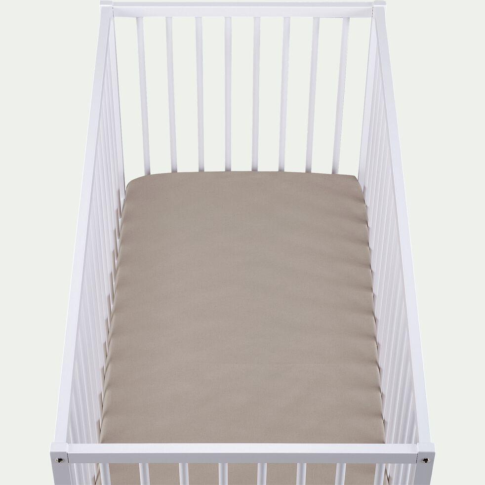 Drap housse bébé en coton bio 70x140+B15cm - beige alpilles-Calanques
