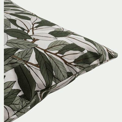 Coussin en coton imprimé vert 40x60cm-LAURIER