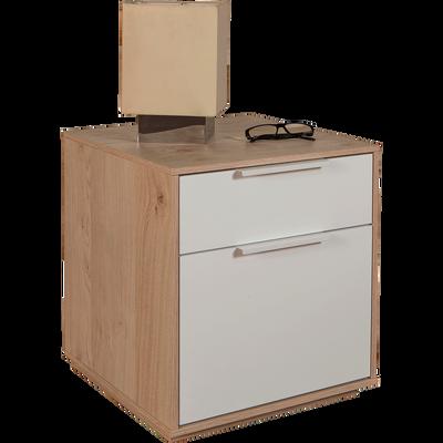 Table de chevet finition chêne clair 2 tiroirs-MILANO