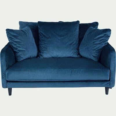Canapé 2 places fixe en velours - bleu figuerolles-LENITA
