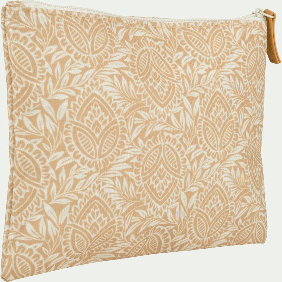 Trousse de toilette en polycoton motif Amande - beige 15x19cm-MAYAN