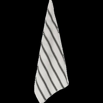 Torchon en lin et coton blanc et noir-PASSO