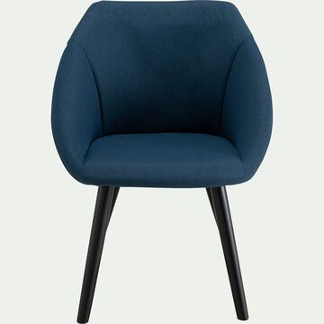 Chaise en tissu avec accoudoirs - bleu figuerolles-DELINA