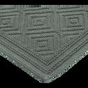 Tapis de bain en coton 60x100cm piquage en losanges vert cèdre-SADOU