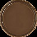 Assiette à dessert en faïence brun châtaignier D21cm-VADIM