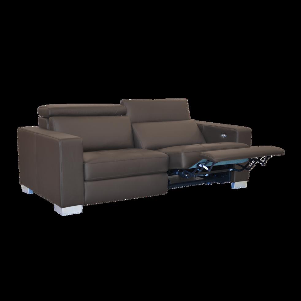 canap 3 places relax lectrique en cuir de buffle marron. Black Bedroom Furniture Sets. Home Design Ideas
