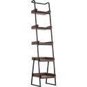 Etagère 5 tablettes plaquée noyer et métal noir L40cm-ESTANIER