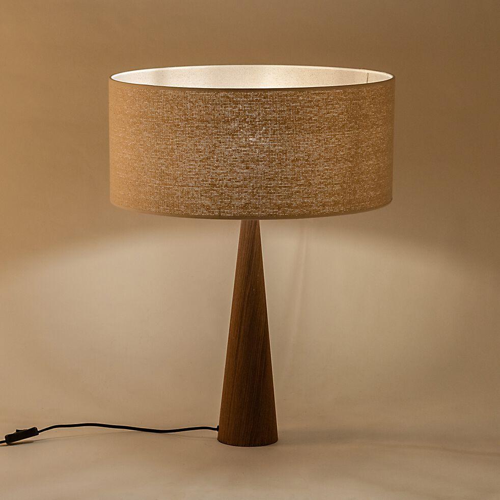 Lampe à poser en bois foncé - beige D50cm-KONE