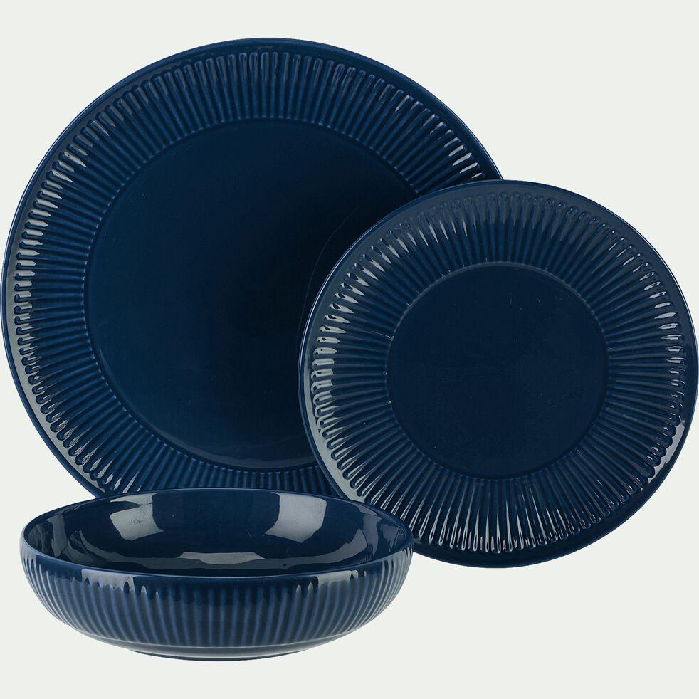 Assiette creuse en faïence D19cm - bleu figuerolles-MORA