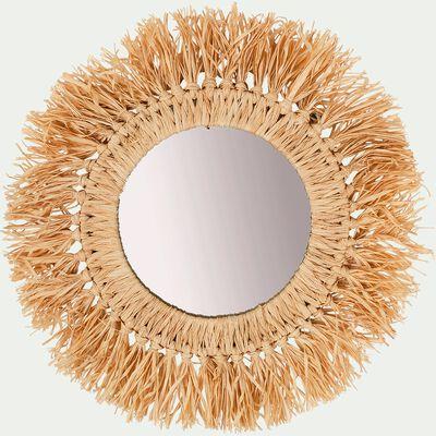 Miroir mural frange raphia D35cm-OLEO