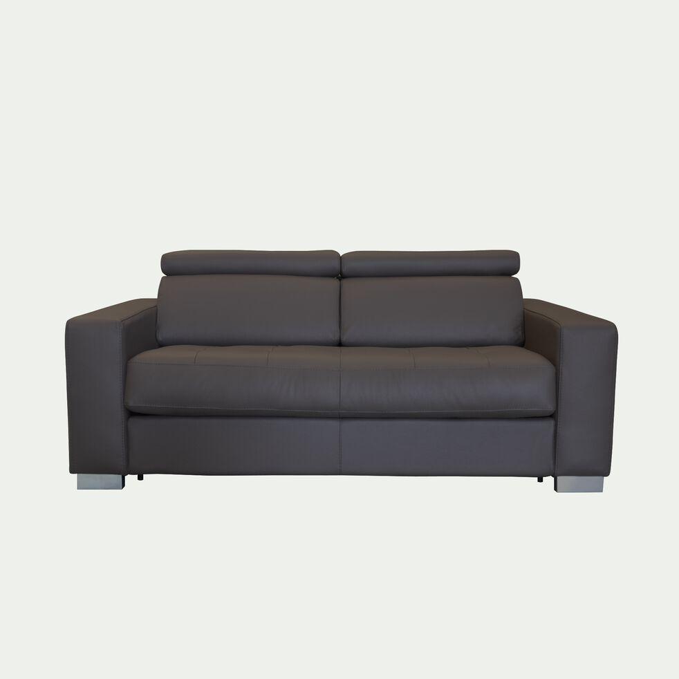 Canapé 2 places fixe en cuir avec accoudoir 20cm - taupe foncé-MAURO