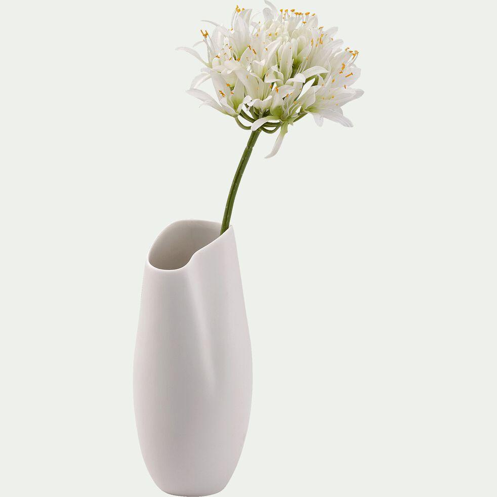 Vase asymétrique en céramique - blanc H21cm-BAFRA