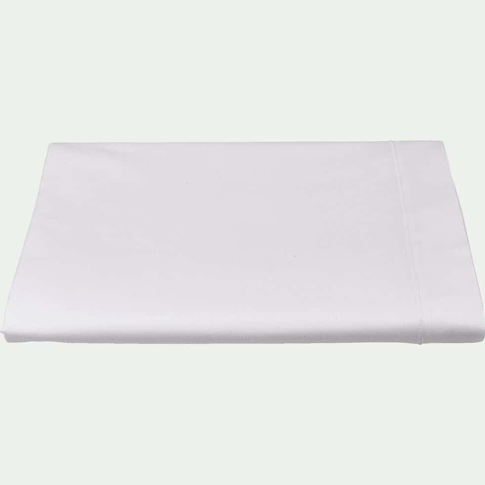 Drap plat en coton - blanc 270x300cm-CALANQUES