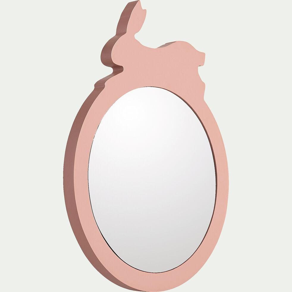 Miroir lapin en bois - rose salina D18cm-Amira