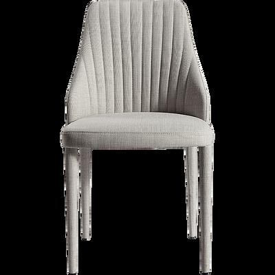 Chaise matelassée en tissu gris clair-ANEMONE