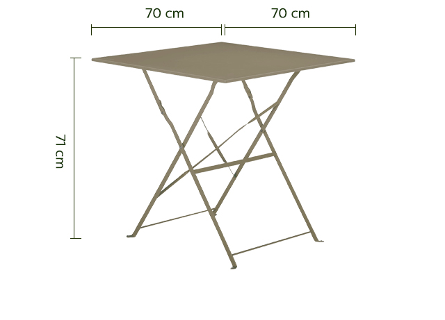 Table de jardin pliante taupe L70cm (2 places)-CERVIONE