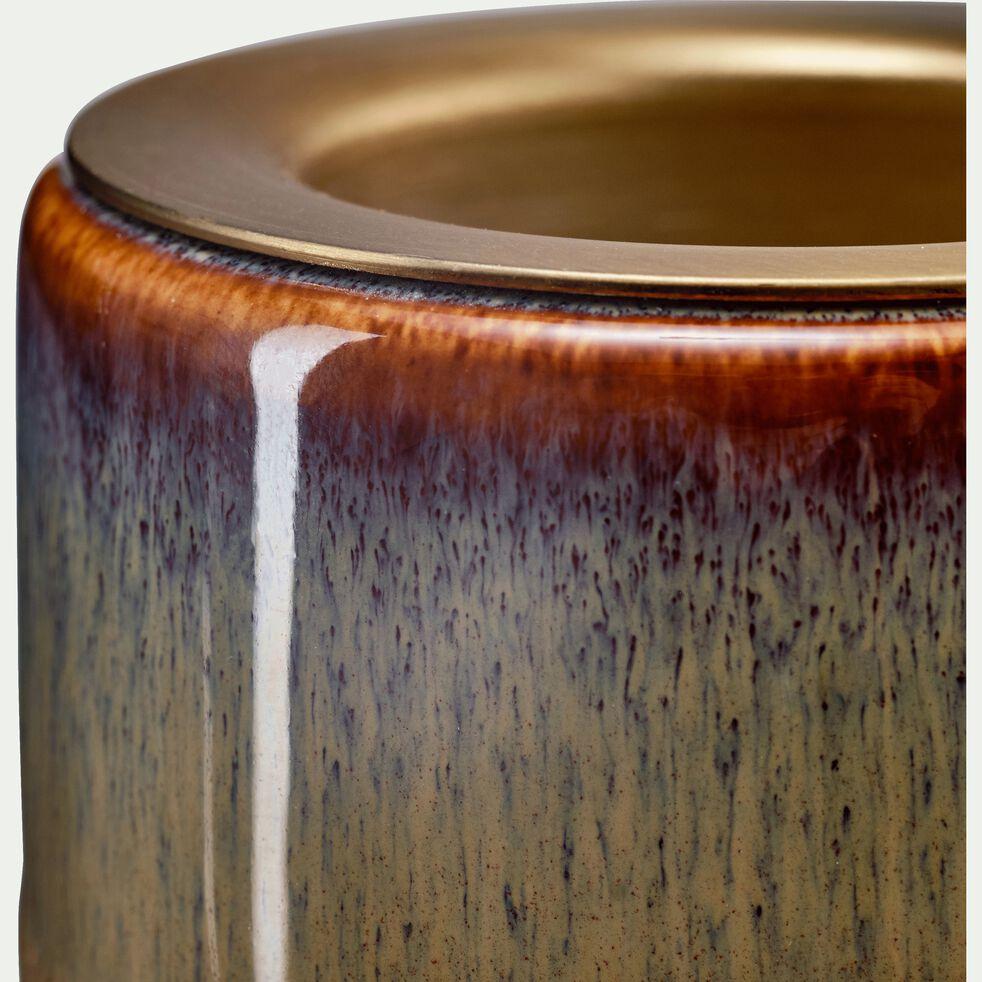 Bougeoir en céramique beige H5cm-TELLIMA