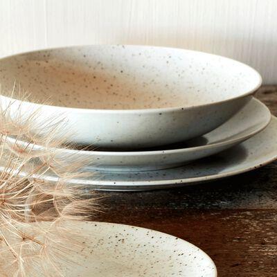 Assiette de présentation en porcelaine blanche mouchetée D30cm-JEANNE