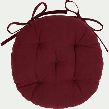 Galette de chaise ronde en coton - rouge sumac D40cm-CALANQUES