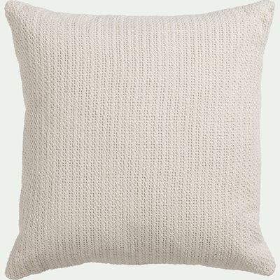 Coussin effet tricot en coton - blanc 45x45cm-FREDO