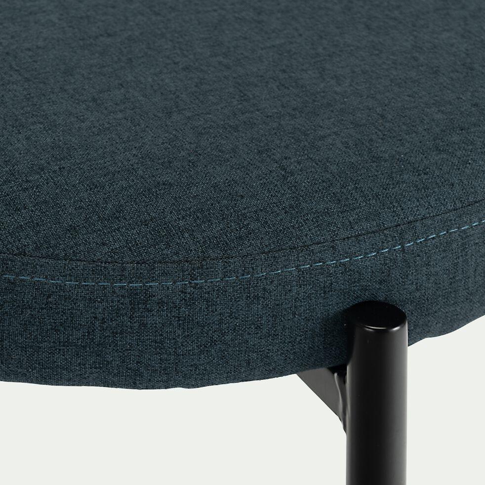 Tabouret bas en acier et tissu - bleu céou H46cm-LIZA